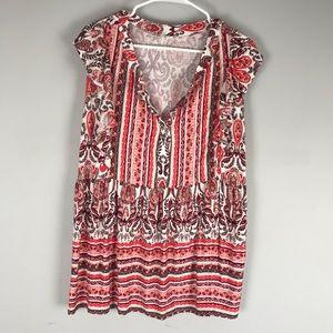 Westport paisley print knit top vneck pink
